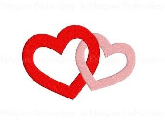 Interlocked Hearts v2 Embroidery Design Instant Download