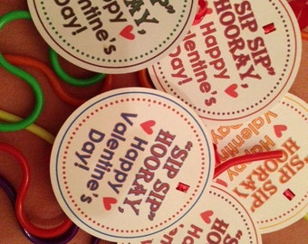 Goodie Bag Tags Birthday Party Valentine Sip Sip Hooray! Favor Tags Set of 12