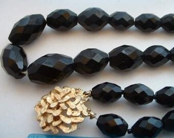 Vintage Black Faceted Cut Glass Necklace & Bracelet with Golden Clasp Set Demi Parure Mid Century