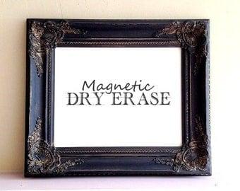 Dry Erase Board White Board Magnetic Vintage Distressed Black Organizer Message Center Kitchen Wall Decor Framed Memo Board Birthday Gift