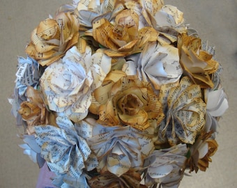 Love Letters,Book Pages and Music sheets aged Paper  Flower Roses Wedding Bouquet  Rehearsal bouquet Toss Bouquet