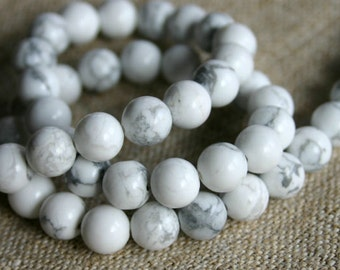 40pcs White Howlite  Natural Gemstone Beads 10mm 16 Inches