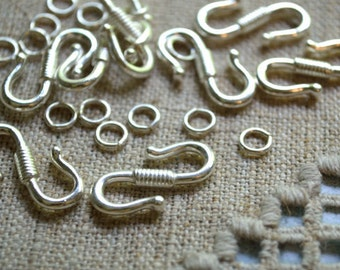 12pcs Clasp Antiqued Silver Finished Pewter S Hook-And-Eye 23x14mm Hook With Ring