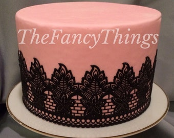 Black Cake Lace 3D Edible Sugar Lace - Gatsby - Wedding - Vintage - Antique - Art Deco Style Sugar Lace