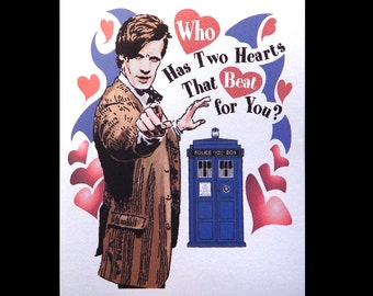 Matt Smith Doctor Who Valentine with Tardis and Hearts