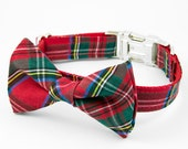Holiday Bow Tie Dog Collar - Red Tartan