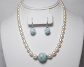 G.C~ 16m Blue Larimar,Freshwater White Pearl ,925 S.S.Necklace & Earrings..