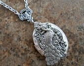 Peacock Victorian Locket in Silver Exclusively by Enchanted Lockets