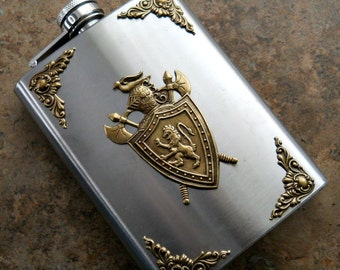 Fancy Flask, Brass Medievel Crest on 8 Oz Stainless Steel Flask, Game of Thrones Flask