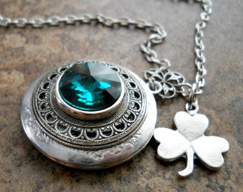 Lucky Irish Lass Locket by Enchanted Lockets, Emerald Green Rivoli Irish Locket