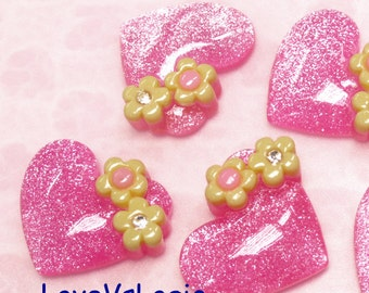 4 Glitter Puff Heart with Flower Lucite Cabochon. Pale Pink Tone