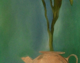 Tulips in a Tea Pot Original Oil Painting