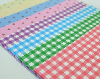 Checks and Polka Dots (mono colors) printed Paper Pack for Japanese Origami Project- 48 sheets