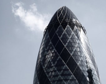 Modern Architecture Photography London Muted Blue Minimalist Home Decor 10x8 Print The Gherkin