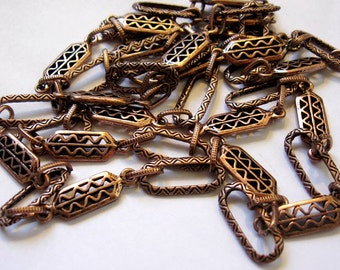 Ornate, Thick Antique Copper Link Chain Necklace, Zig Zag Oval, Stamped Rectangles, Meter, 39+ inches