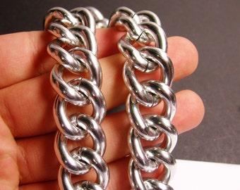 Silver chain - lead free nickel free won't tarnish - 1 meter - 3.3 feet - aluminum chain - cable chain - NTAC96