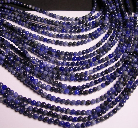 Sodalite - 4 mm round beads -1 full strand - 96 beads - A quality -RFG104