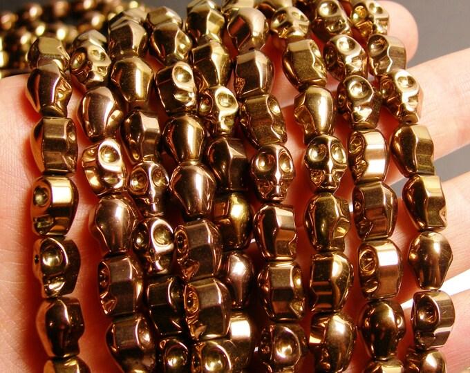 Hematite skull  - 8x10mm skull bead - bronze  - full strand - 39 beads - AA quality - PHG26