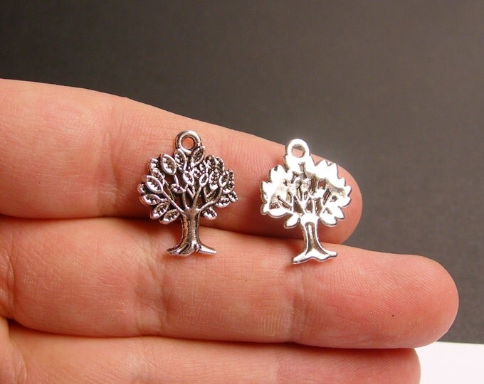 12 tree charm -  antique silver tone charms - 12 pcs - tree of life -  ASA103