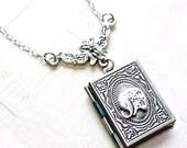 Elephant Necklace, Elephant Locket Necklace,Book Locket Necklace, Antique Silver Elephant Book Locket Neckalce, Photo Locket