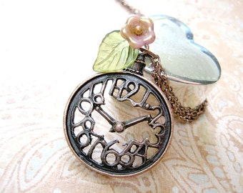 Clock Necklace, Steampunk Necklace,Clock Jewelry,Steampunk Pendant,Clock Pendant