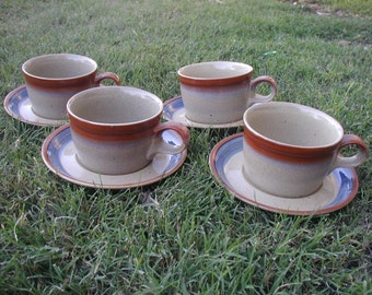 Mikasa Potters Art 4 Cups Saucers Sand and Sea Ben Seibel Design 1970s 1978 to 1982