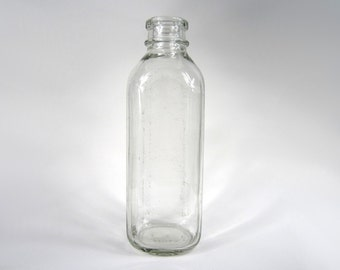 1940s square glass milk bottle - shabby chic farmhouse home decor vase - mid century