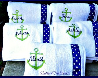 Monogram Spa Wrap towels for Bridal party favors - (1) Personalized Anchor Spa Wrap Towel