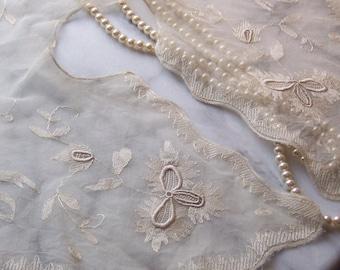 Bridal Antique Brussels Bobbin Lace Collar aka Gatsby or Downton Abbey Fashion Piece