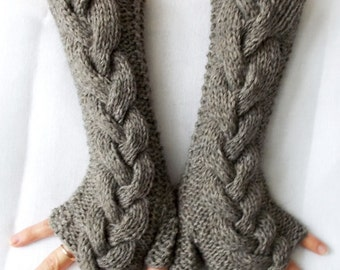 Taupe Fingerless Gloves Wrist Warmers, Cabled, Extra Long and Soft, Greyish Brown