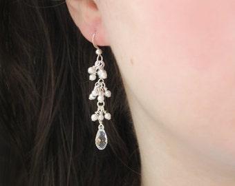 Delicate bridal earrings, pearl and crystal, long, modern drops