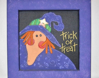 Halloween Witch, Dressed in Purple, Hand Painted, Green or Purple Frame Halloween Art, Halloween Decoration, Halloween Sign Trick or Treat