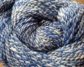 Hand Spun Merino Superwash Wool Blue and White Yarn 200 yards