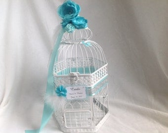 Glamour Couture Line Birdcage Card Holder. Tiffany Blue Hues