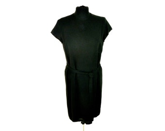 Vintage 90's Sleeveless Black Tunic Dress with Tie Waist Women's Large