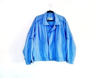 Vintage 1980's Member's Only Unique Cut Jacket Space Age Modern Design in Light Blue by Europe Craft Men's Size Medium