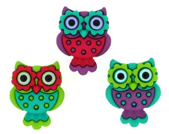 Buttons Jesse James Button Embellishments Retro Night Owls Sewing Buttons Owl Bird Birds