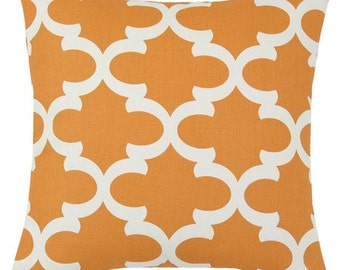 Modern Orange Fretwork Decorative Pillow Cover - Several Sizes Available