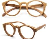 Cherry Wood Round Takemoto Thanks Handmade Wooden Brown Sunglasses