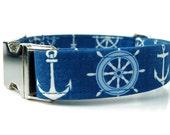 Nautical Dog Collar with Nickel Hardware - Denim Blue