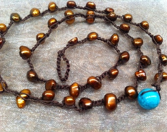 Brown and Turquoise Pearl Necklace Classic Pretty Sophisticated Bohemian chic Feminine Stylish Gift for Her Dress up or down just ENJOY