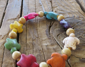Bright Howlite Turquoise Turtle Stretch Bracelet