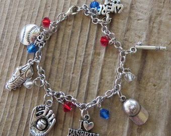 I Love Baseball Customizable Silver Charm and Crystal Bracelet