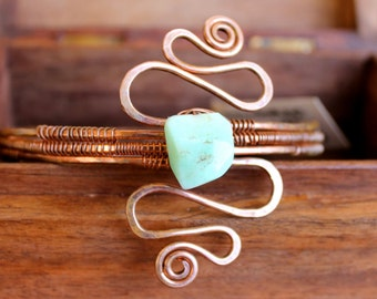 Warrior Goddess OOAK Upper Arm Bangle in Chrysoprase and Recycled Copper