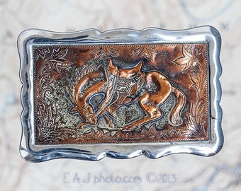 western style belt buckle copper and steel vintage 1960's