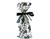 Classic Black and White Floral Wine Bottle Bag or Reusable Gift Bag for BIrthday, Wedding, or Shower Gift