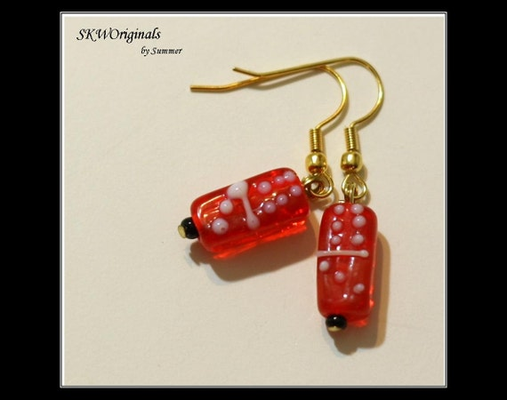 RESERVE LISTING for Kathy Silva --- 2 pairs Red Domino Lampwork Bead Earrings and 2 extra beads