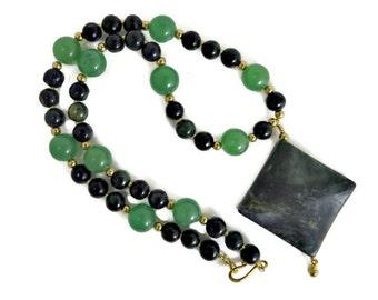 Green Zebra Jasper Pendant and Green Aventurine, Green Zebra Jasper, and Gold Bead Necklace