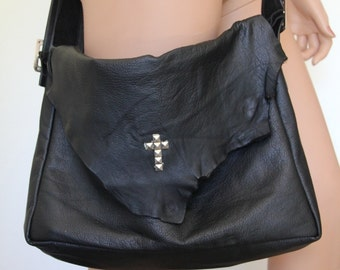 Crossbody Messenger ipad Tote Leather Gothic Bag Cross Studs - CHRISST