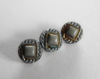 Small Grey Blue Czech Glass Buttons